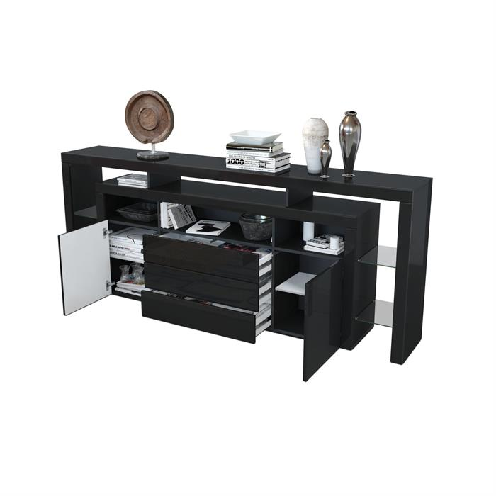sideboard kommode anrichte highboard rosario 220 wei schwarz hochglanz beton ebay. Black Bedroom Furniture Sets. Home Design Ideas