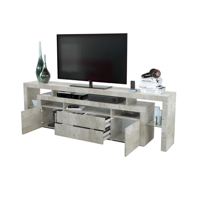 tv lowboard board schrank m bel rosario 220 in wei schwarz hochglanz beton ebay. Black Bedroom Furniture Sets. Home Design Ideas
