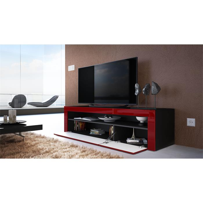 tv board lowboard unterschrank rack valencia in schwarz. Black Bedroom Furniture Sets. Home Design Ideas