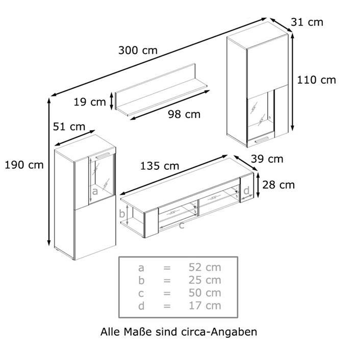 Wohnwand anbauwand fernsehwand wohnzimmer hochglanz front for Wohnwand elemente zusammenstellen