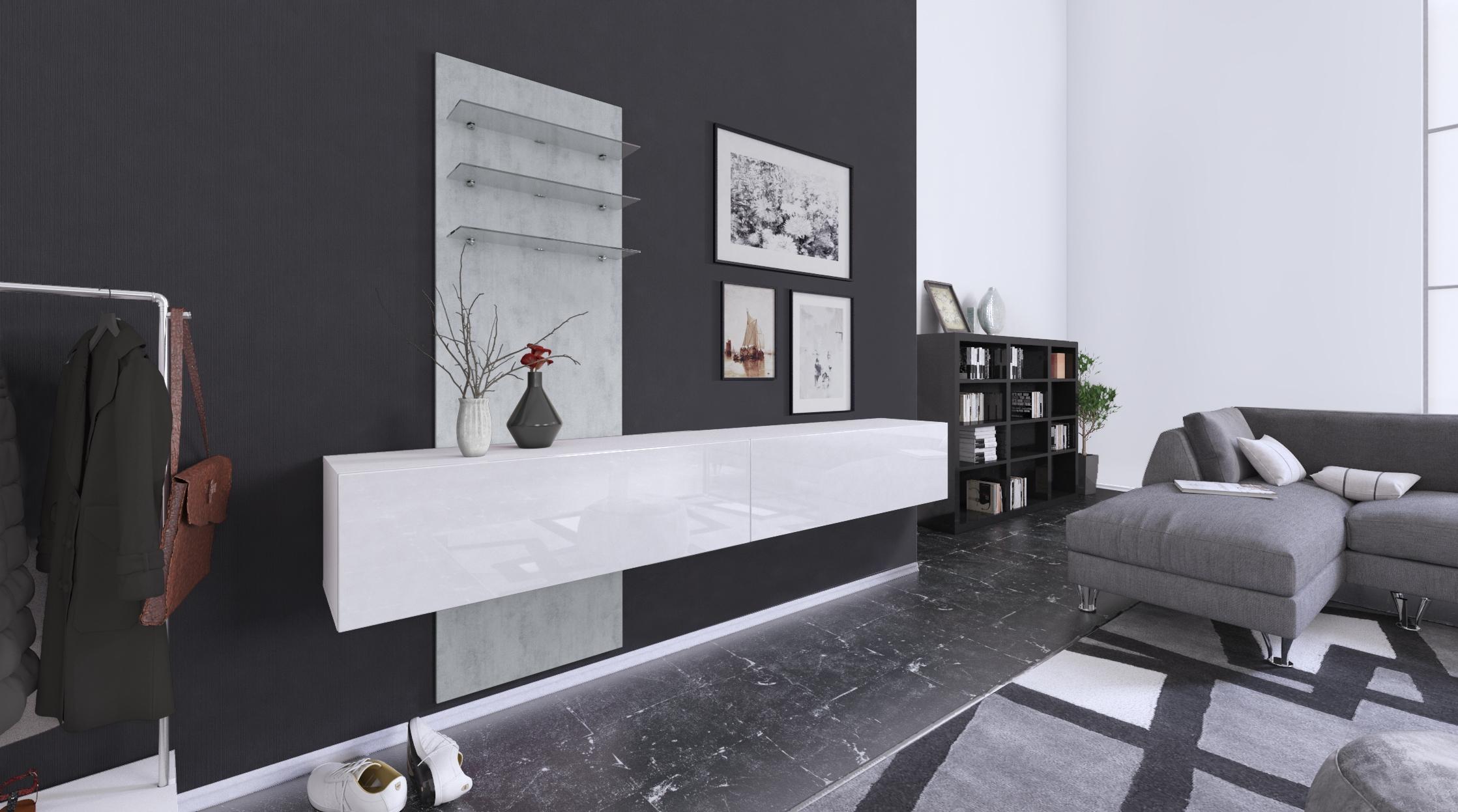 Combinaison Murale Unité Ensemble De Meubles Verre Led Miroir