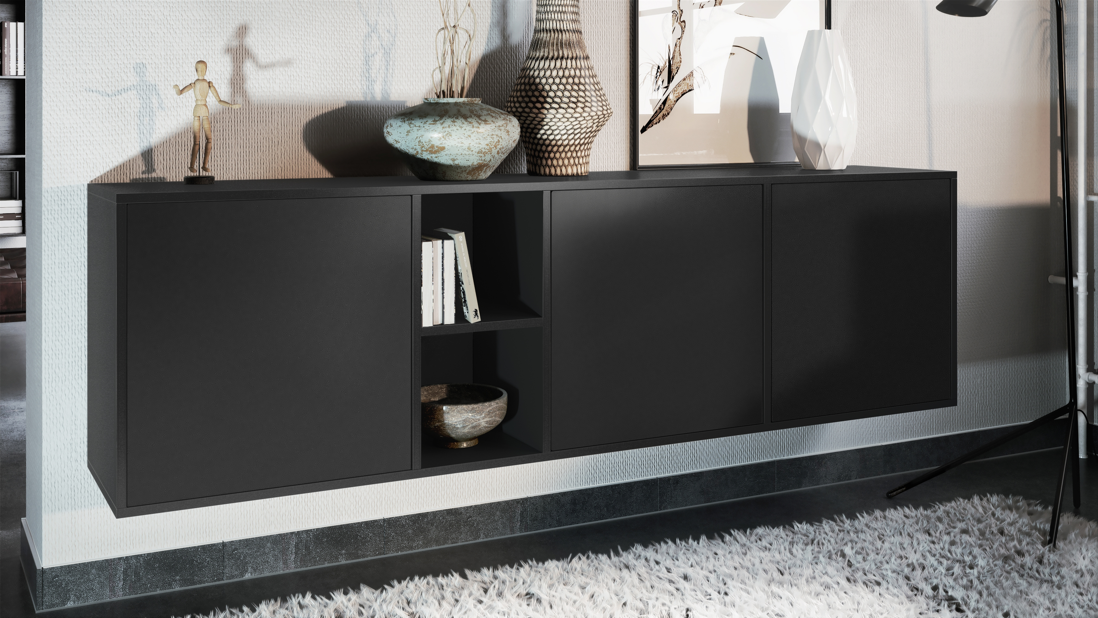 Buffet-Commode-Dressoir-Credence-LED-Cuba-Noir-Haute-brillance-amp-Decor-naturel