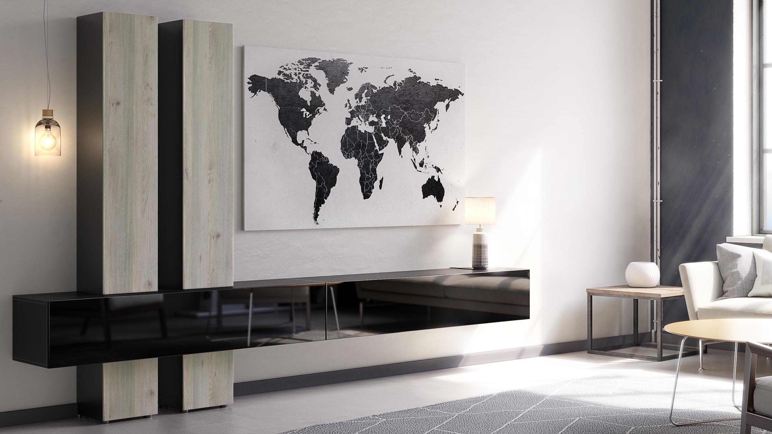 Combinaison-murale-Unite-Ensemble-de-meubles-de-salon-sejour-Moja-en-Noir