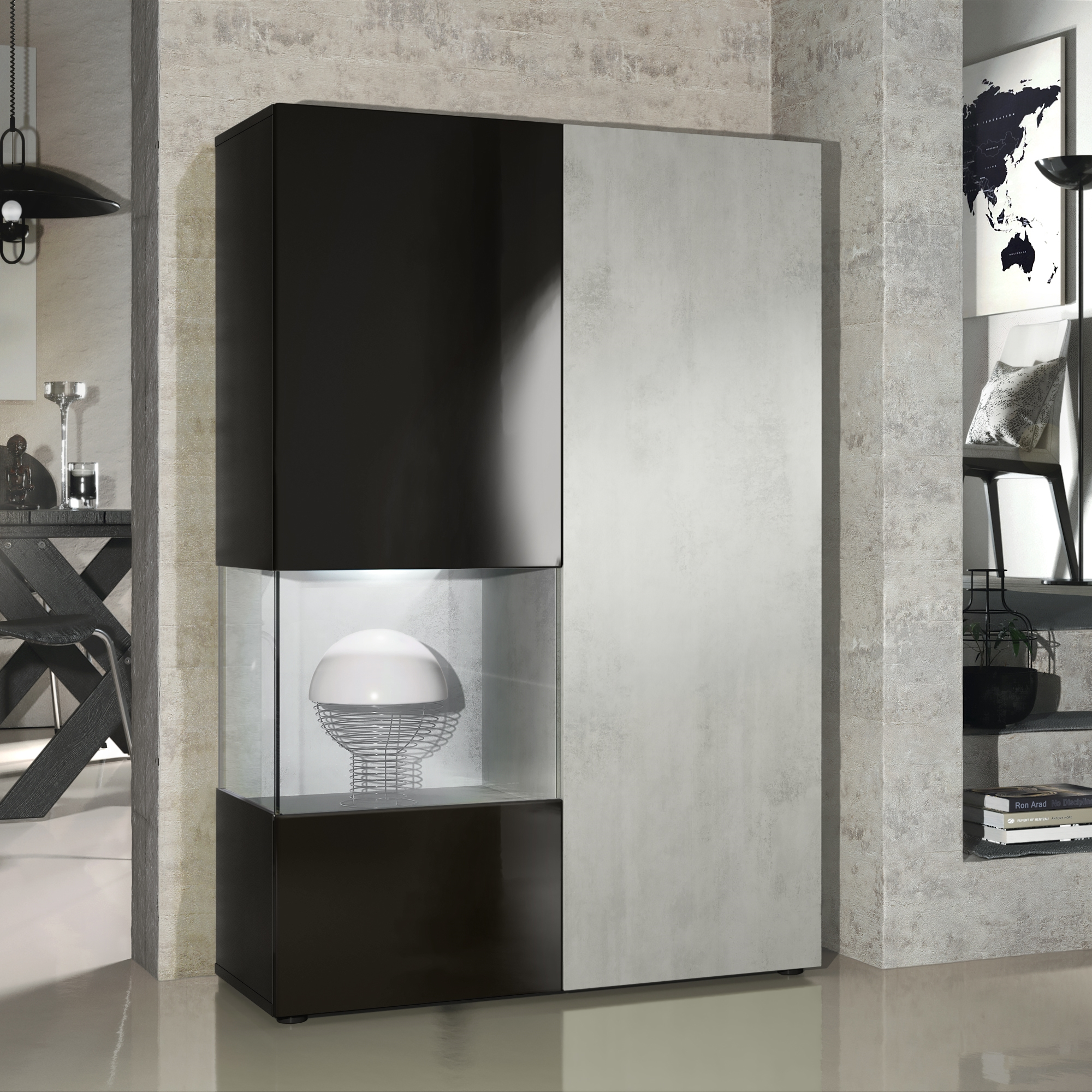 standvitrine highboard hochschrank glas morena schwarz hochglanz naturdekor ebay. Black Bedroom Furniture Sets. Home Design Ideas