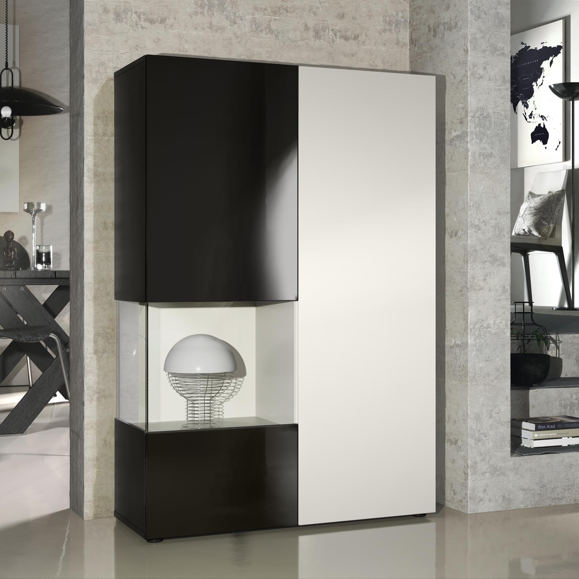 standvitrine highboard hochschrank glas morena schwarz hochglanz naturdekor ebay. Black Bedroom Furniture Sets. Home Design Ideas