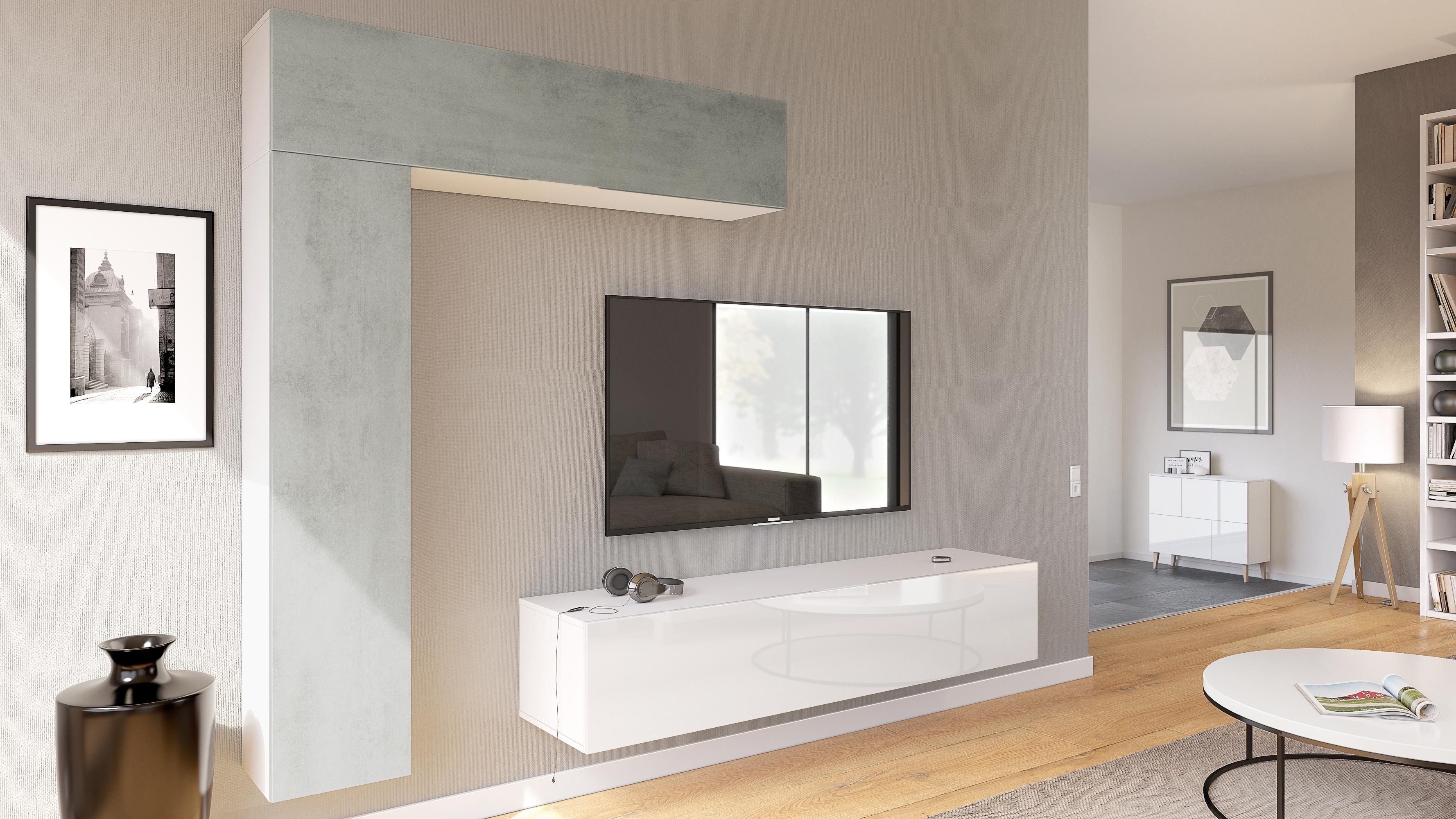 Combinaison murale unit ensemble de meubles de salon s jour taurito en blanc ebay for Ensemble meuble salon sejour