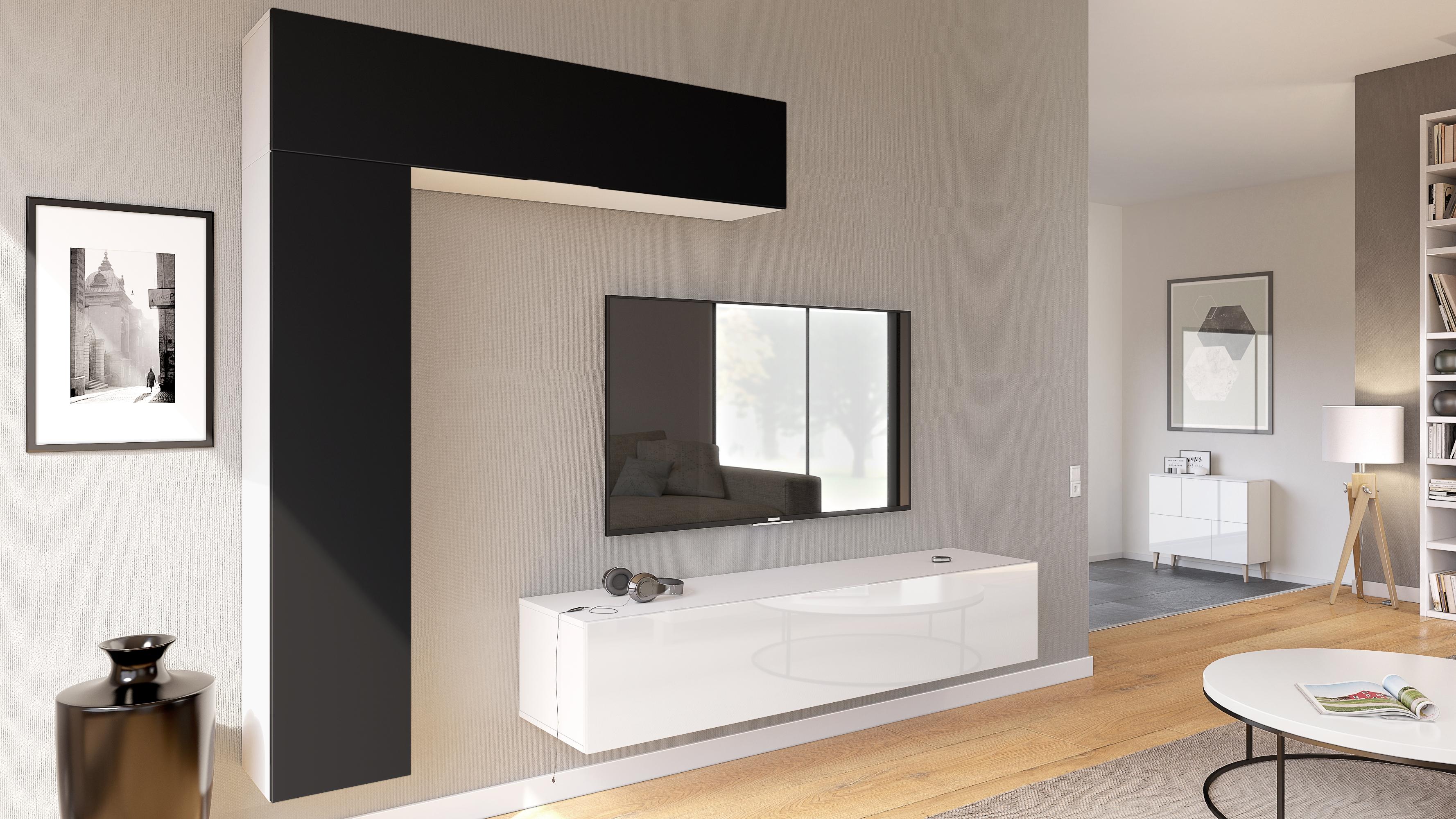 wohnwand anbauwand h ngeschrank taurito wei matt hochglanz naturdekor ebay. Black Bedroom Furniture Sets. Home Design Ideas