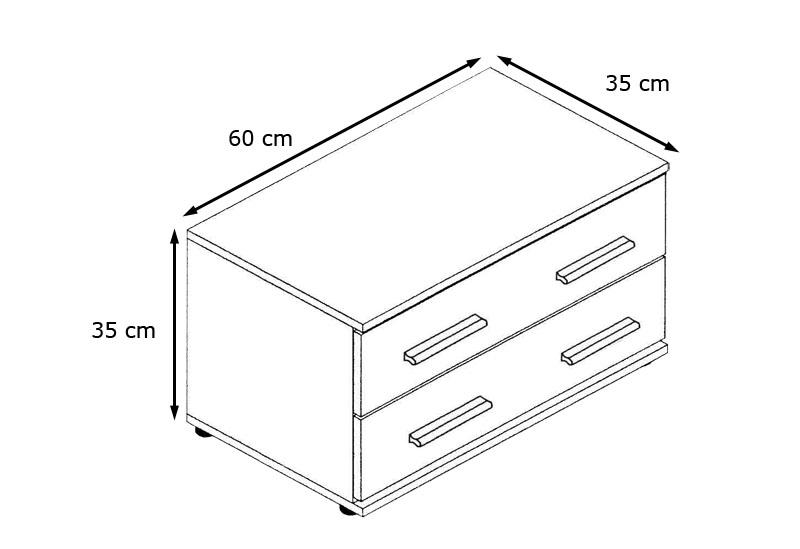 nachttisch nachtschrank 2 sk 35 cm h he 60 cm breit kioto schwarz hochglanz matt ebay. Black Bedroom Furniture Sets. Home Design Ideas