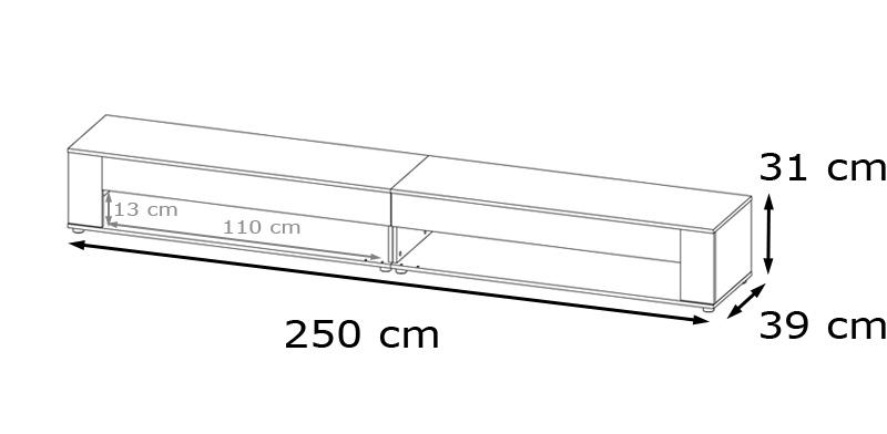 Salerno v2 wohnwand sonoma eiche wei for Wohnwand 250 cm