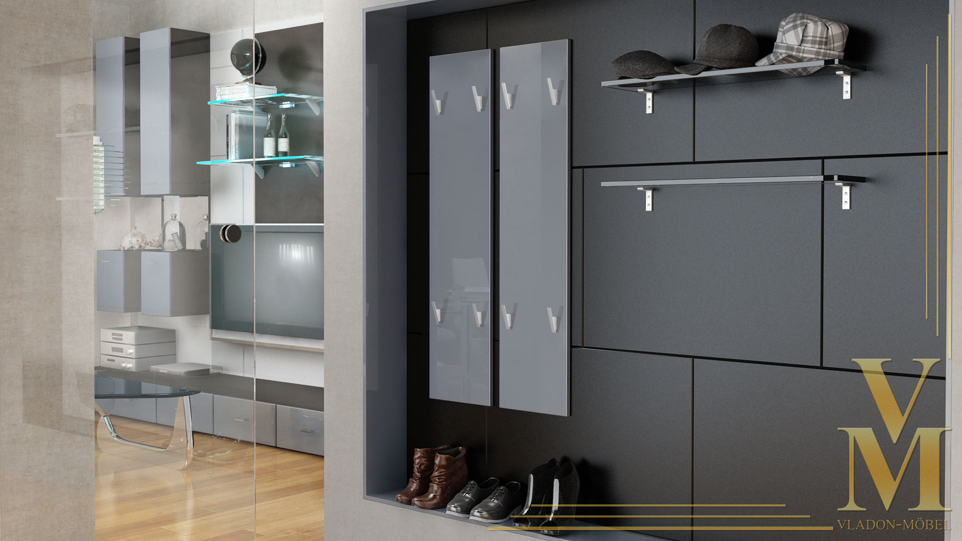 garderobenpaneel wandgarderobe garderobe wandpaneel 120 hochglanz naturt ne ebay. Black Bedroom Furniture Sets. Home Design Ideas