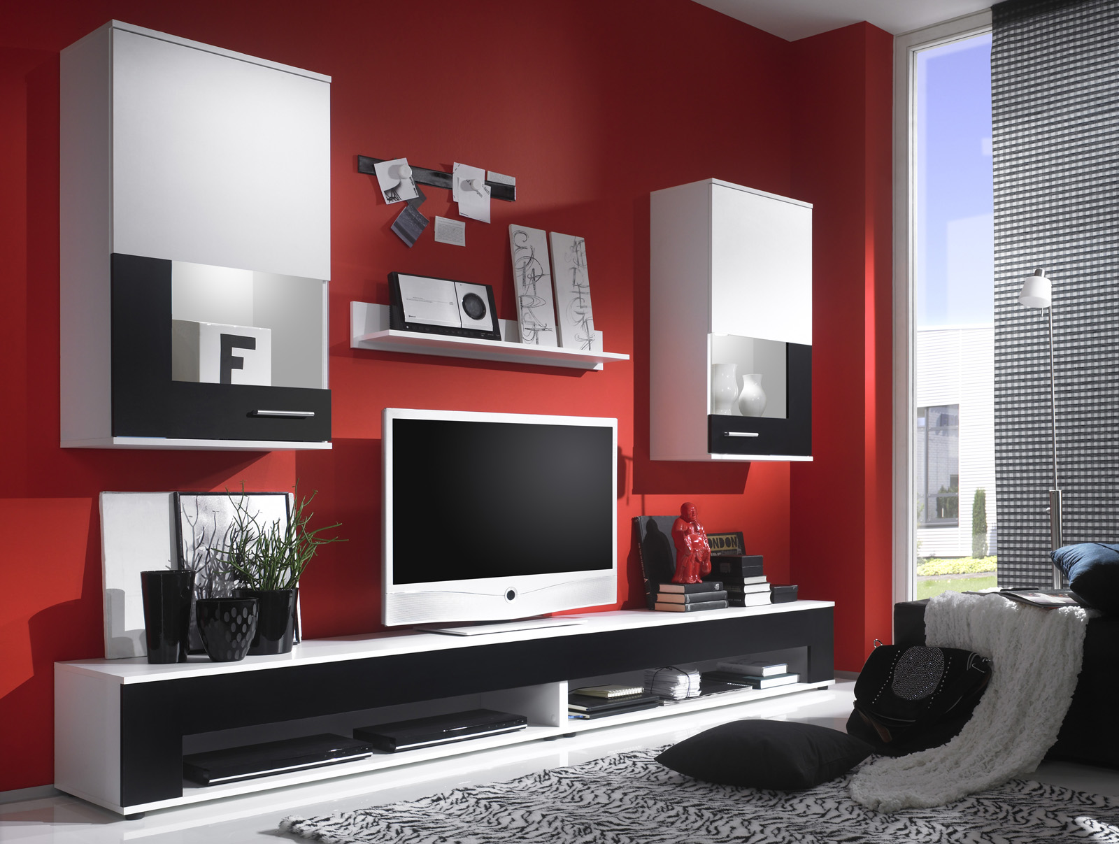 Comdesigner Wall Units For Living Room : Wall Unit Entertainment Unit Living Room TV Stand Salerno V2 White ...
