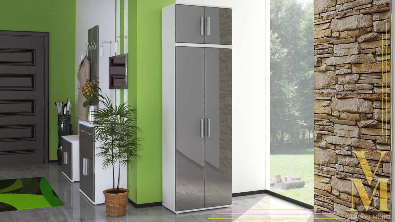 garderobenschrank flur dielenschrank alborg hochglanz ebay. Black Bedroom Furniture Sets. Home Design Ideas