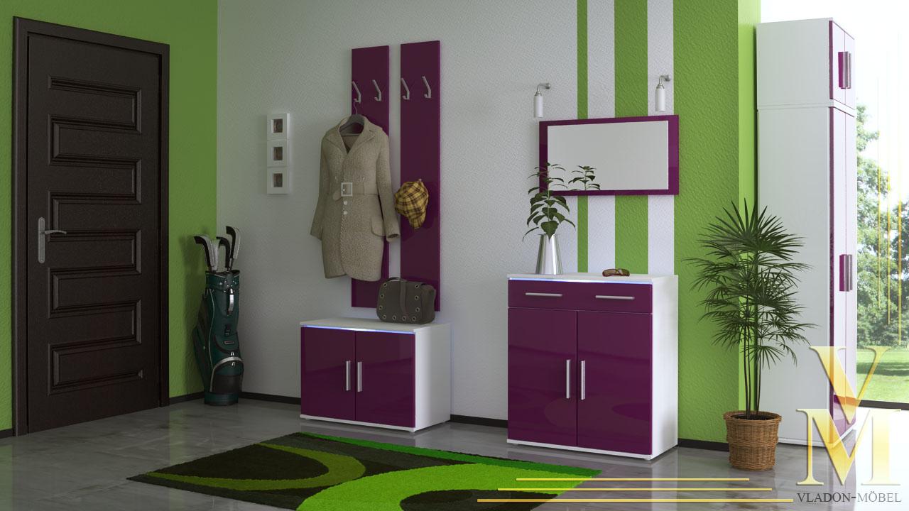 garderobenset garderobe alborg mit spiegel in wei brombeer hochglanz ebay. Black Bedroom Furniture Sets. Home Design Ideas