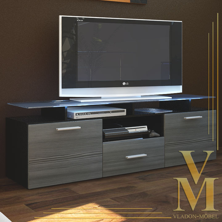 tv board lowboard sideboard almada in black avola anthracite ebay. Black Bedroom Furniture Sets. Home Design Ideas