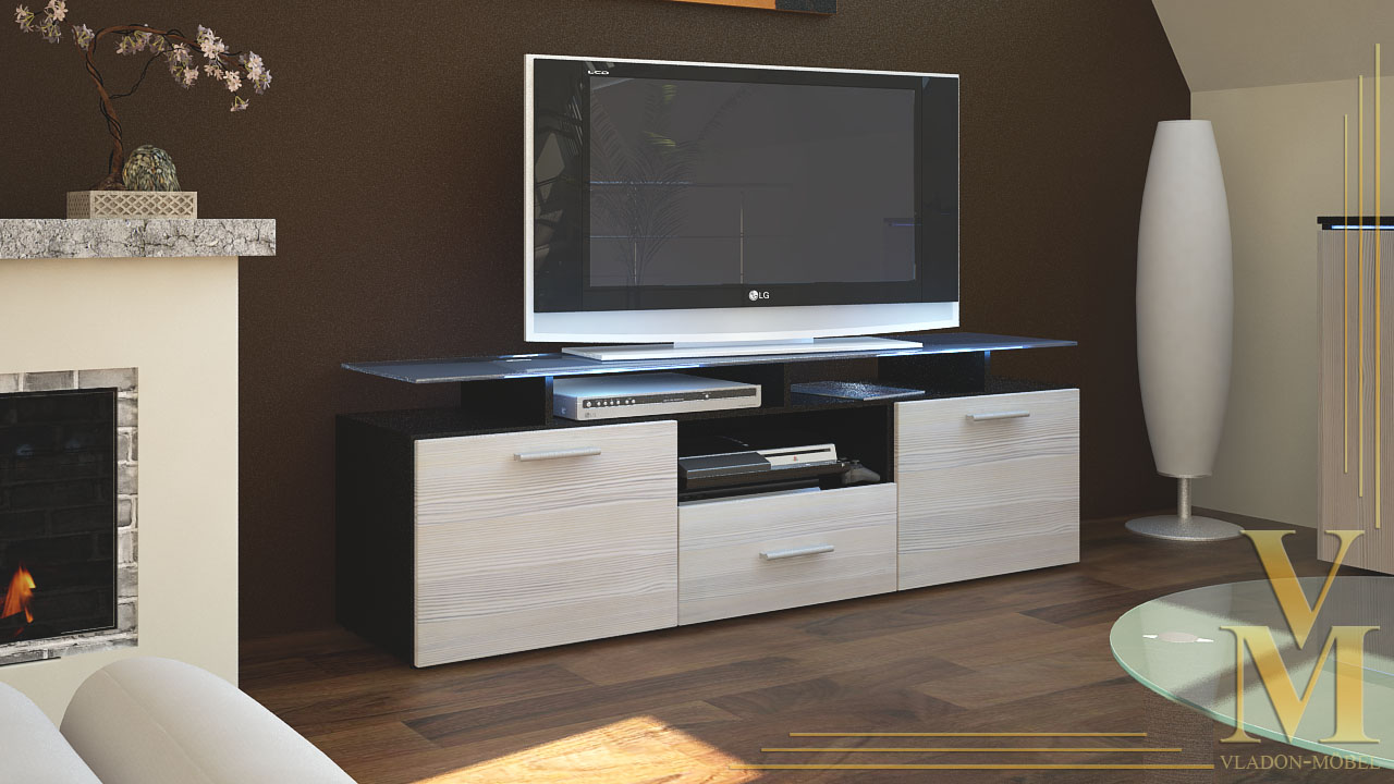 tv board lowboard sideboard tisch rack m bel almada schwarz hochglanz naturt ne ebay. Black Bedroom Furniture Sets. Home Design Ideas