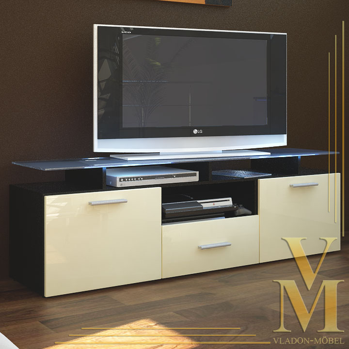 Tv board lowboard sideboard almada in black cream for Sideboard lowboard