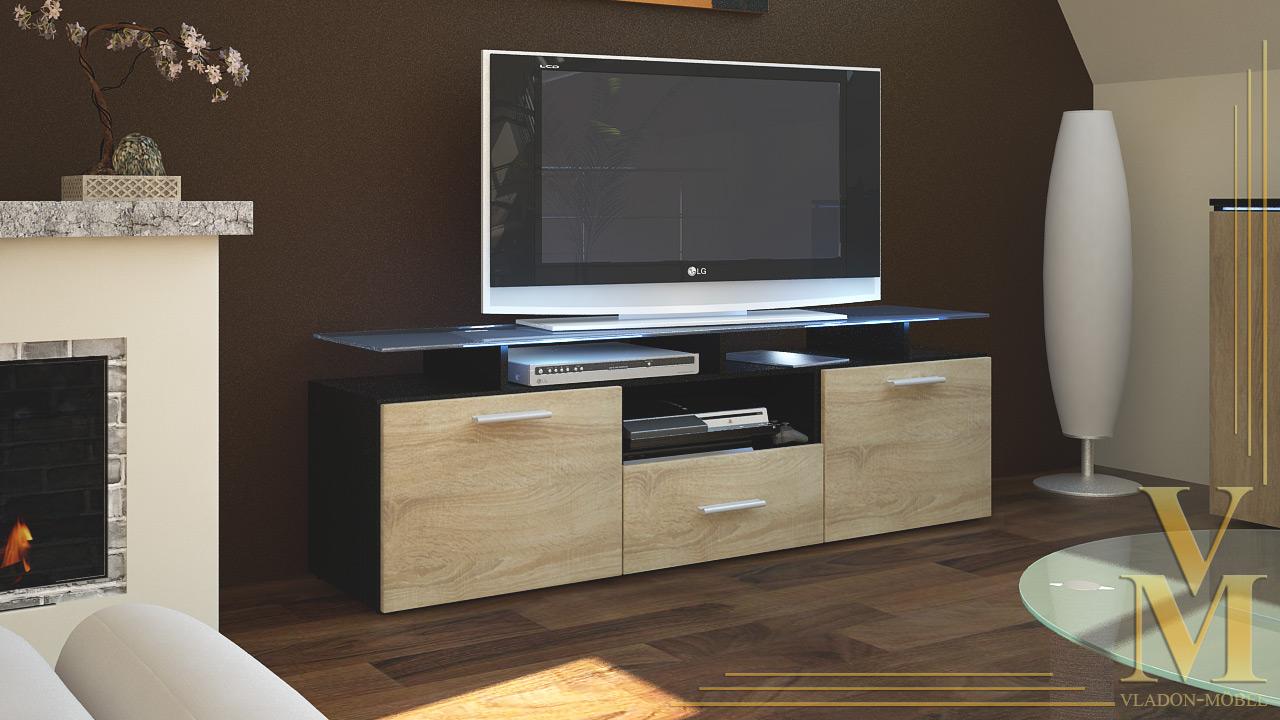 tv board lowboard sideboard tisch rack m bel almada schwarz hochglanz naturt ne ebay. Black Bedroom Furniture Sets. Home Design Ideas