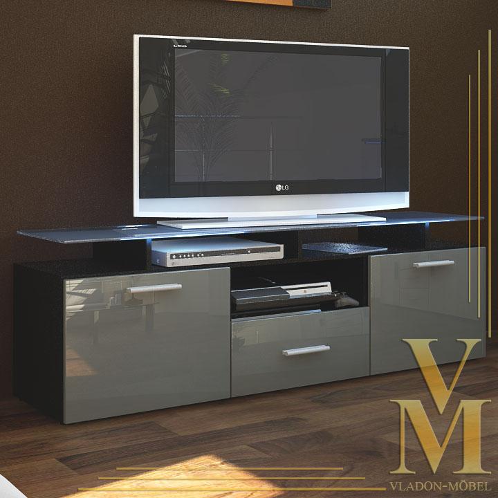 tv board lowboard sideboard almada in black grey highgloss ebay. Black Bedroom Furniture Sets. Home Design Ideas