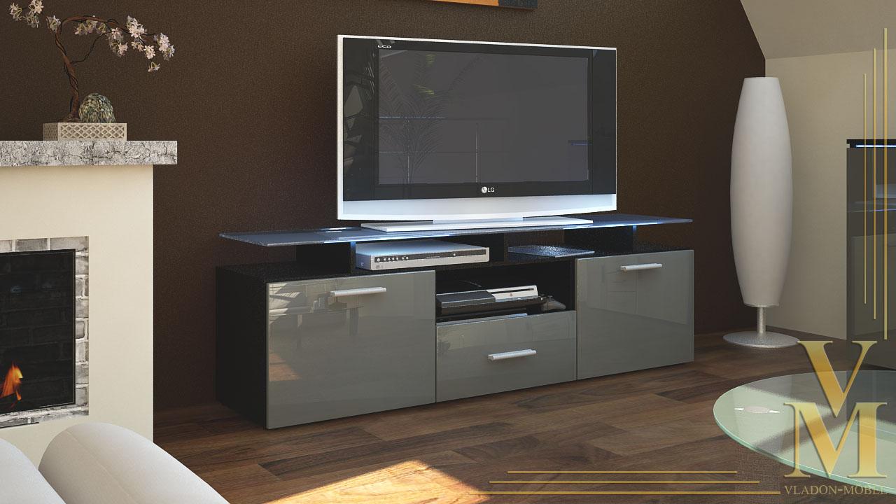 Tv board lowboard sideboard almada in black grey for Sideboard lowboard