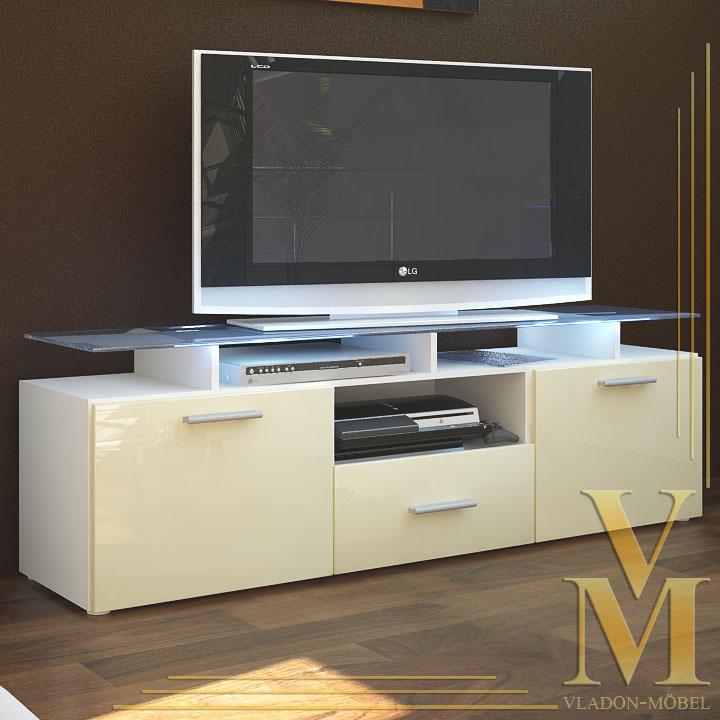 tv board lowboard sideboard almada in white cream. Black Bedroom Furniture Sets. Home Design Ideas