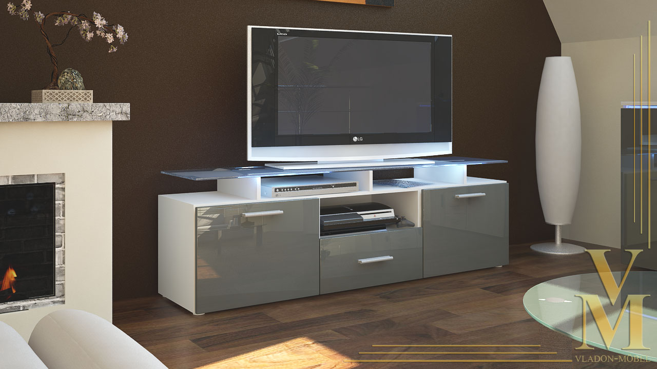 tv board lowboard sideboard almada in white grey. Black Bedroom Furniture Sets. Home Design Ideas