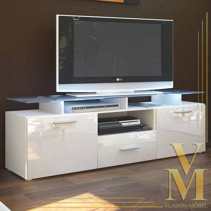 tv board lowboard sideboard almada in white white highgloss ebay. Black Bedroom Furniture Sets. Home Design Ideas