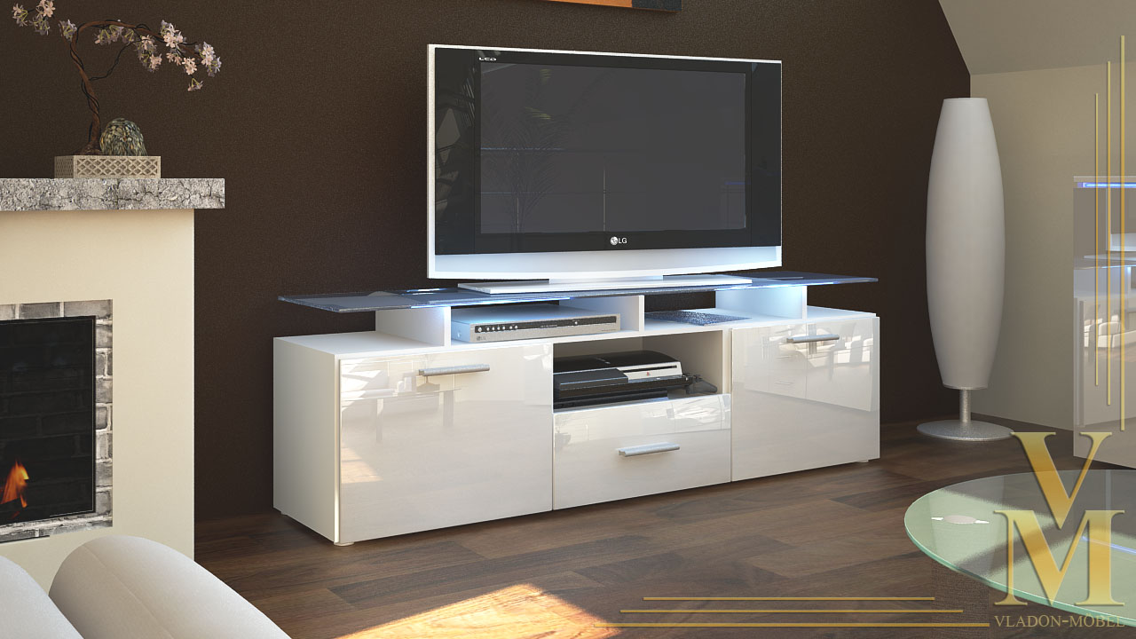 tv board lowboard sideboard tisch rack m bel almada wei. Black Bedroom Furniture Sets. Home Design Ideas
