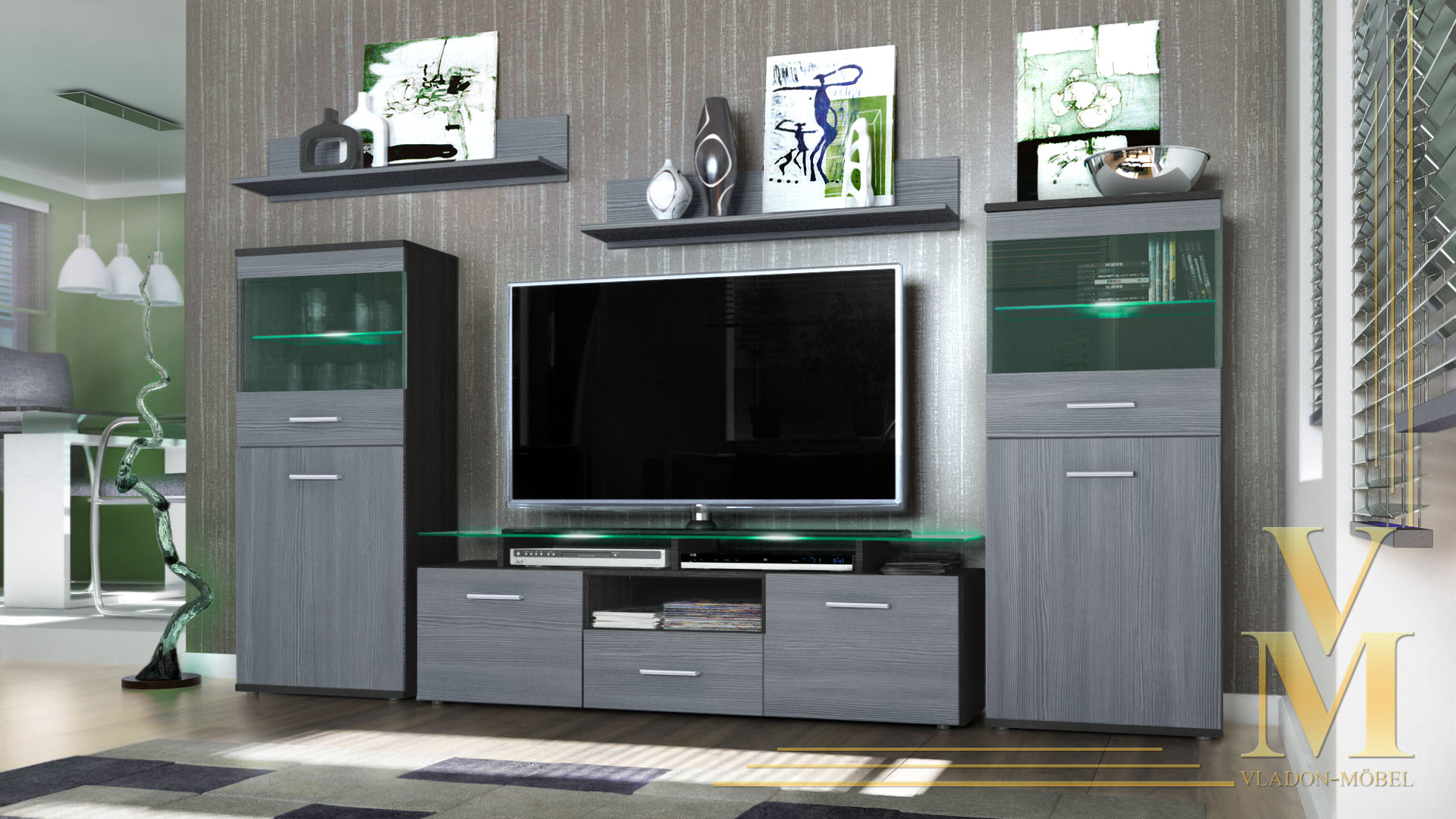 modern wall unit tv stand media entertainment center almada black high gloss ebay. Black Bedroom Furniture Sets. Home Design Ideas