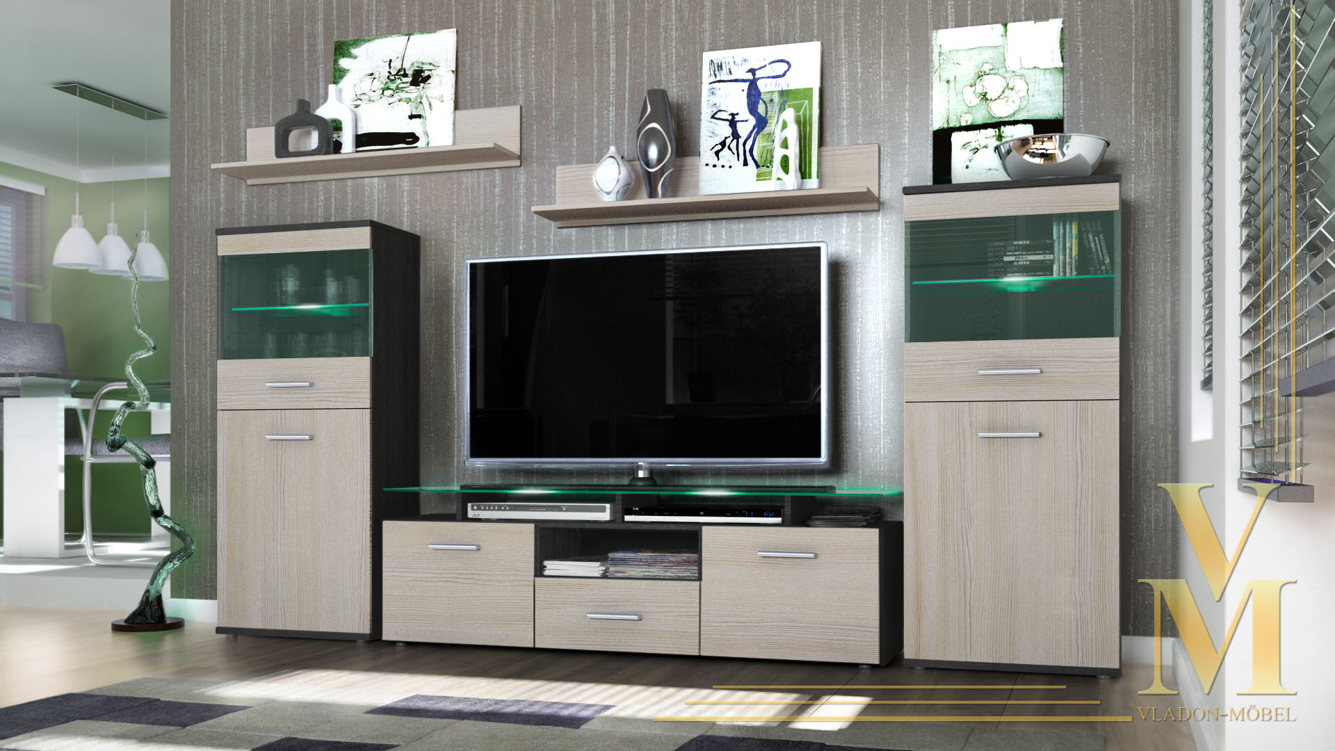 modern wall unit tv stand media entertainment center almada black  - modernwallunittvstandmediaentertainmentcenter