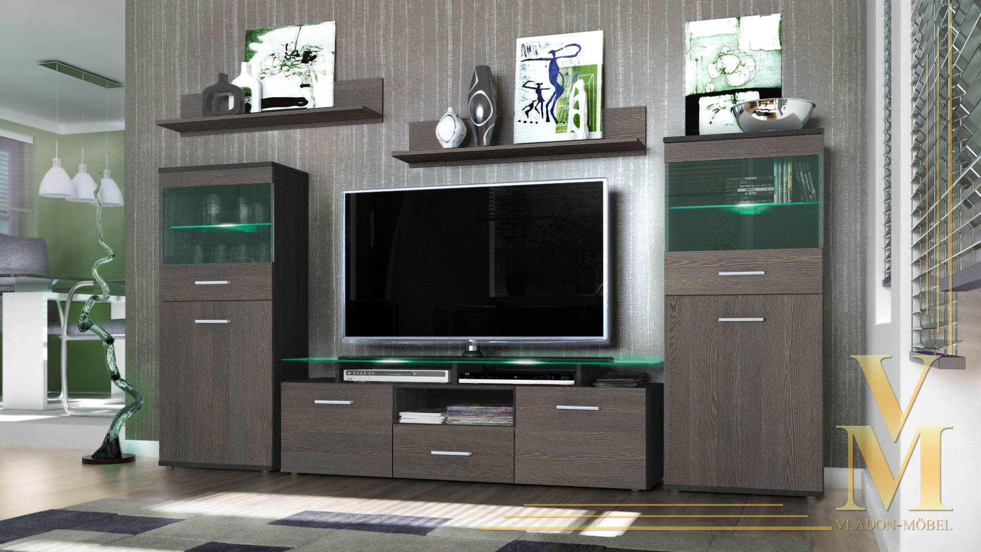 Modern Wall Unit TV Stand Media Entertainment Center