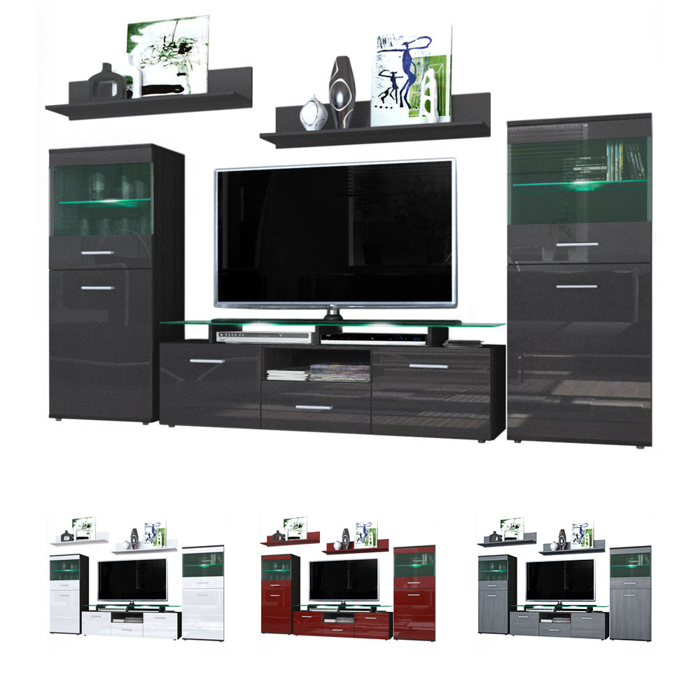 Modern wall unit tv stand media entertainment center almada black high gloss ebay - Modern tv wall unit ...