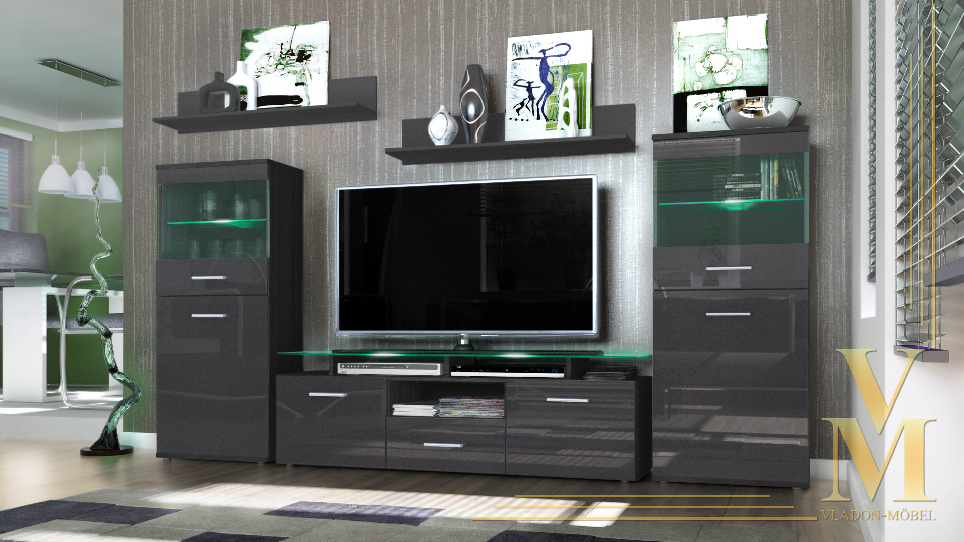 modern wall unit tv stand media entertainment center. Black Bedroom Furniture Sets. Home Design Ideas
