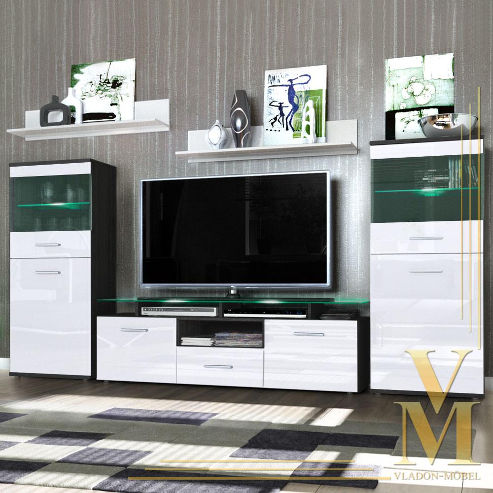 Wall Unit Storage Display Cabinet Almada In Black White