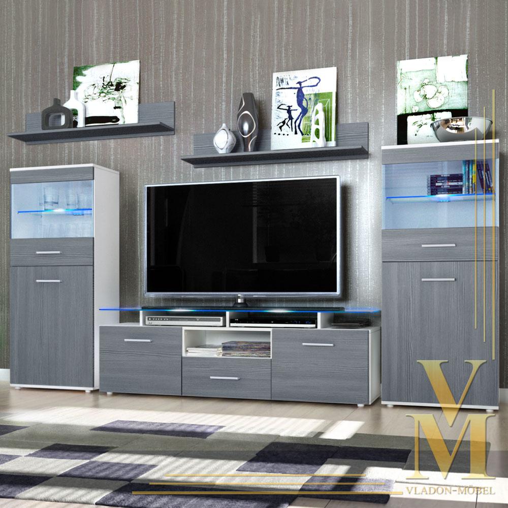 wohnwand anbauwand almada verschiedene naturfarben ebay. Black Bedroom Furniture Sets. Home Design Ideas
