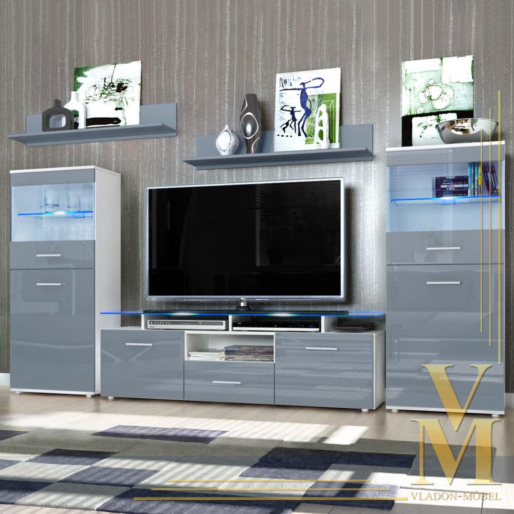 design wohnwand 6 teilig softclose glas 9 farben hochglanz holz matt ebay. Black Bedroom Furniture Sets. Home Design Ideas