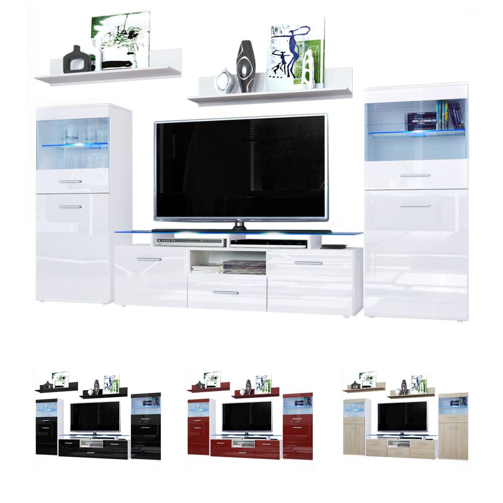 Modern Media Unit: Modern Wall Unit TV Stand Media Entertainment Center