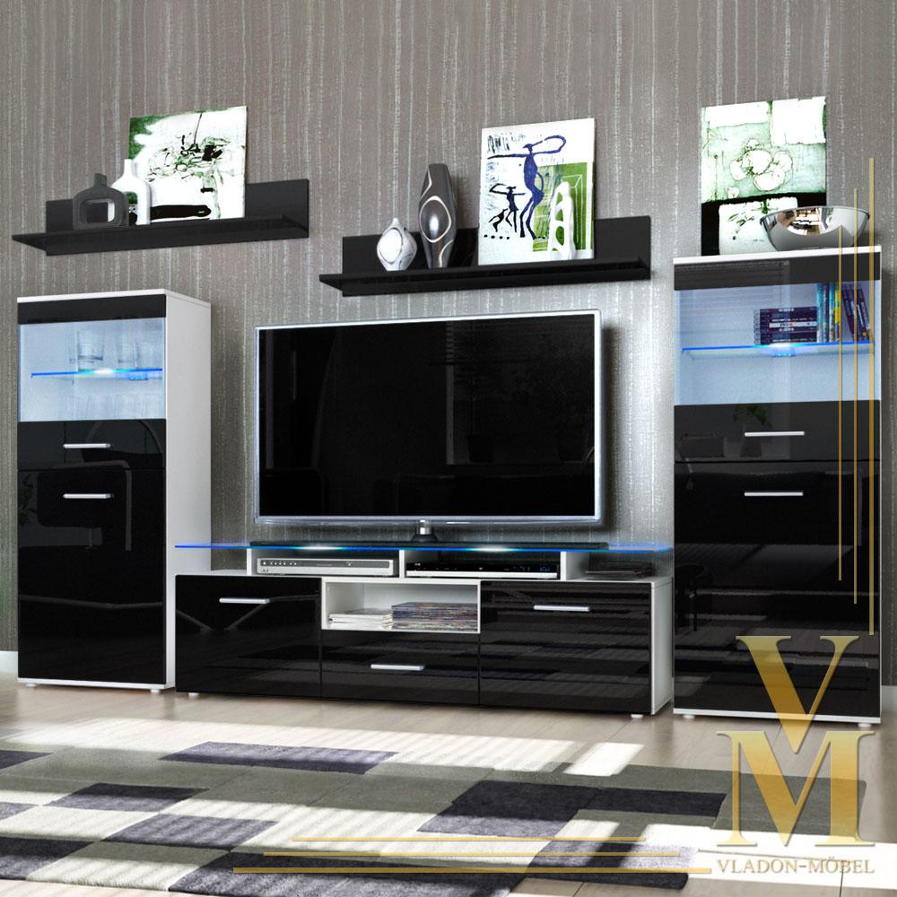 Wall Unit Storage Display Cabinet Almada In White Black