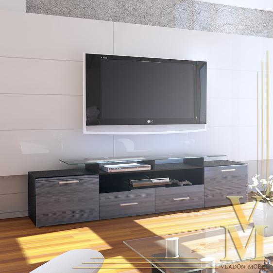 lowboard tv board cabinet almada v2 in black avola anthracite ebay. Black Bedroom Furniture Sets. Home Design Ideas