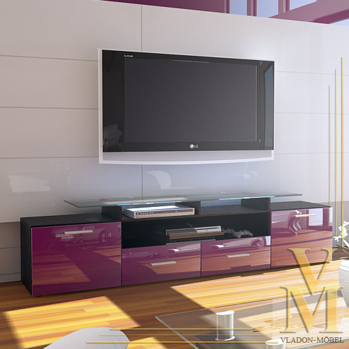ALMADA V2 TV CABINET  LOWBOARD  SIDEBOARD BLACK WITH VIOLET HIGH GLOSS FRON -> Tv Lowboard Almada