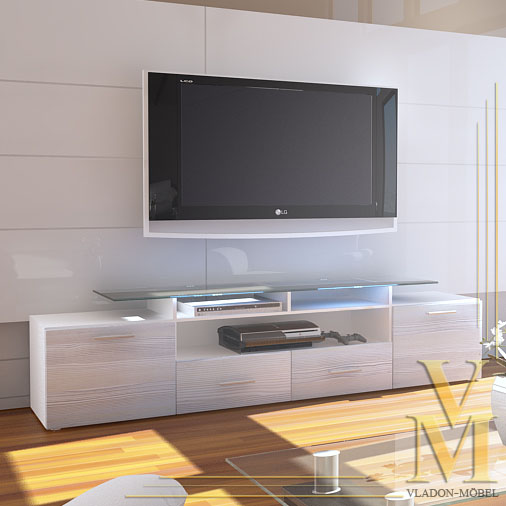 Meuble bas TV ALMADA V2 en Blanc / Avola champagne  eBay