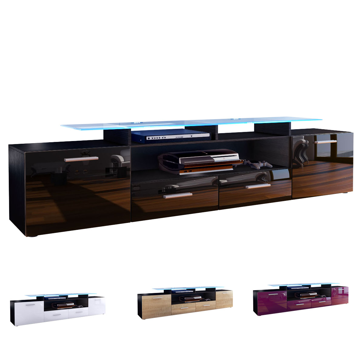 tv unit stand cabinet sideboard almada v2 black high. Black Bedroom Furniture Sets. Home Design Ideas
