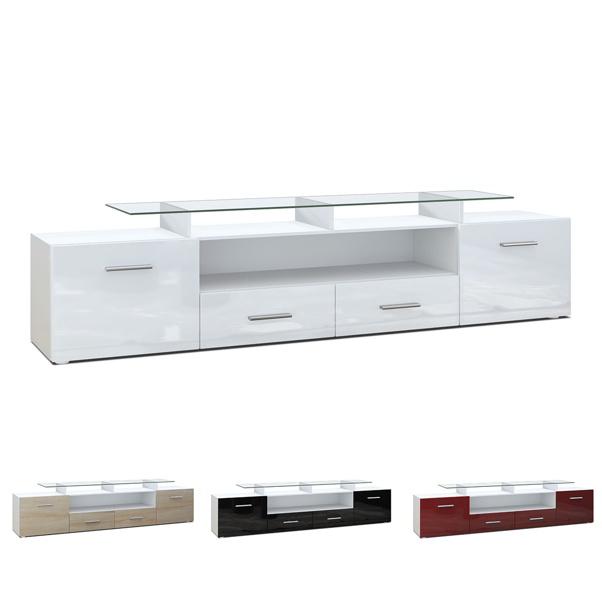 tv unit stand cabinet sideboard almada v2 white high. Black Bedroom Furniture Sets. Home Design Ideas