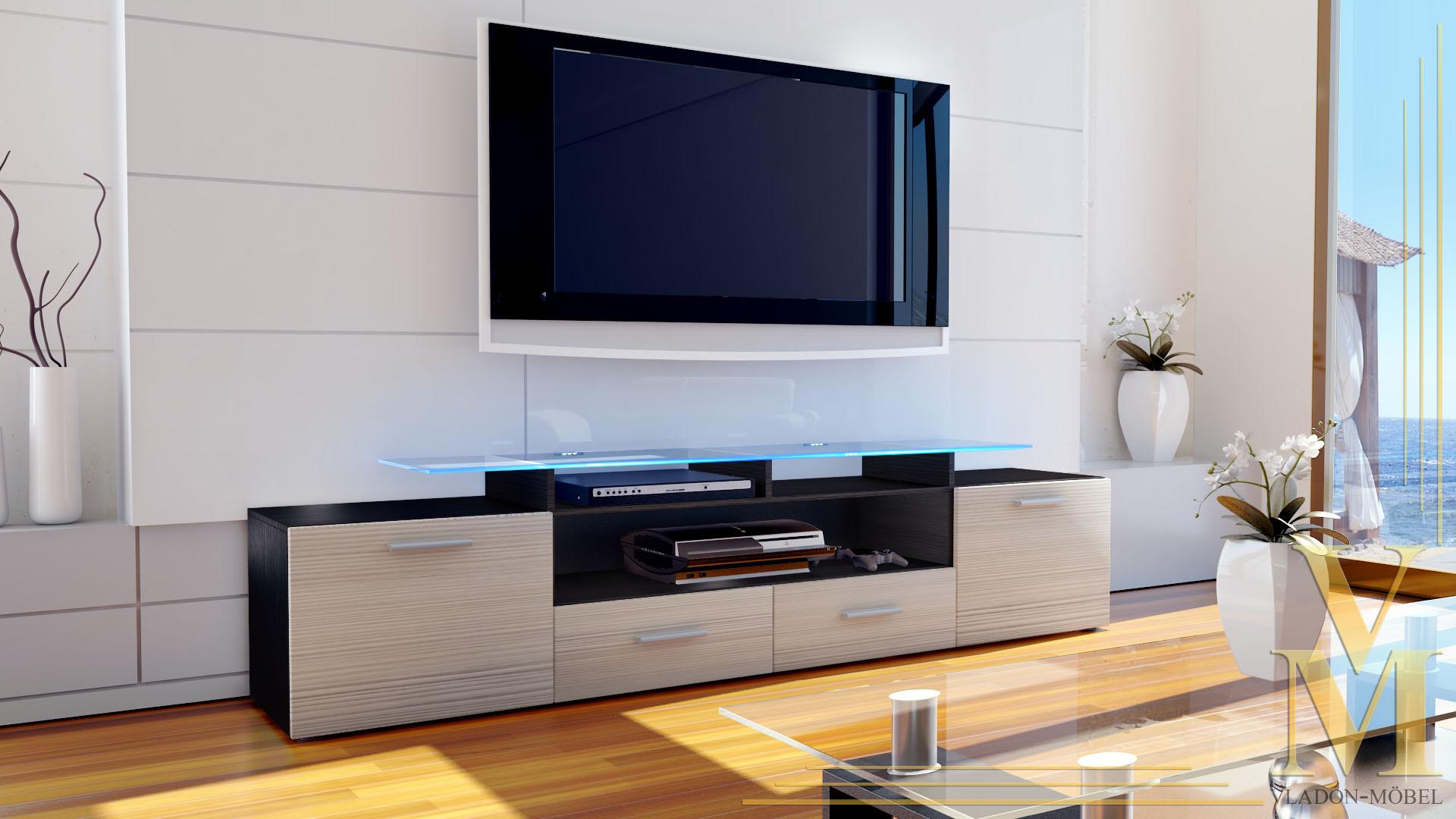tv board lowboard sideboard rack m bel almada v2 schwarz hochglanz naturt ne ebay. Black Bedroom Furniture Sets. Home Design Ideas