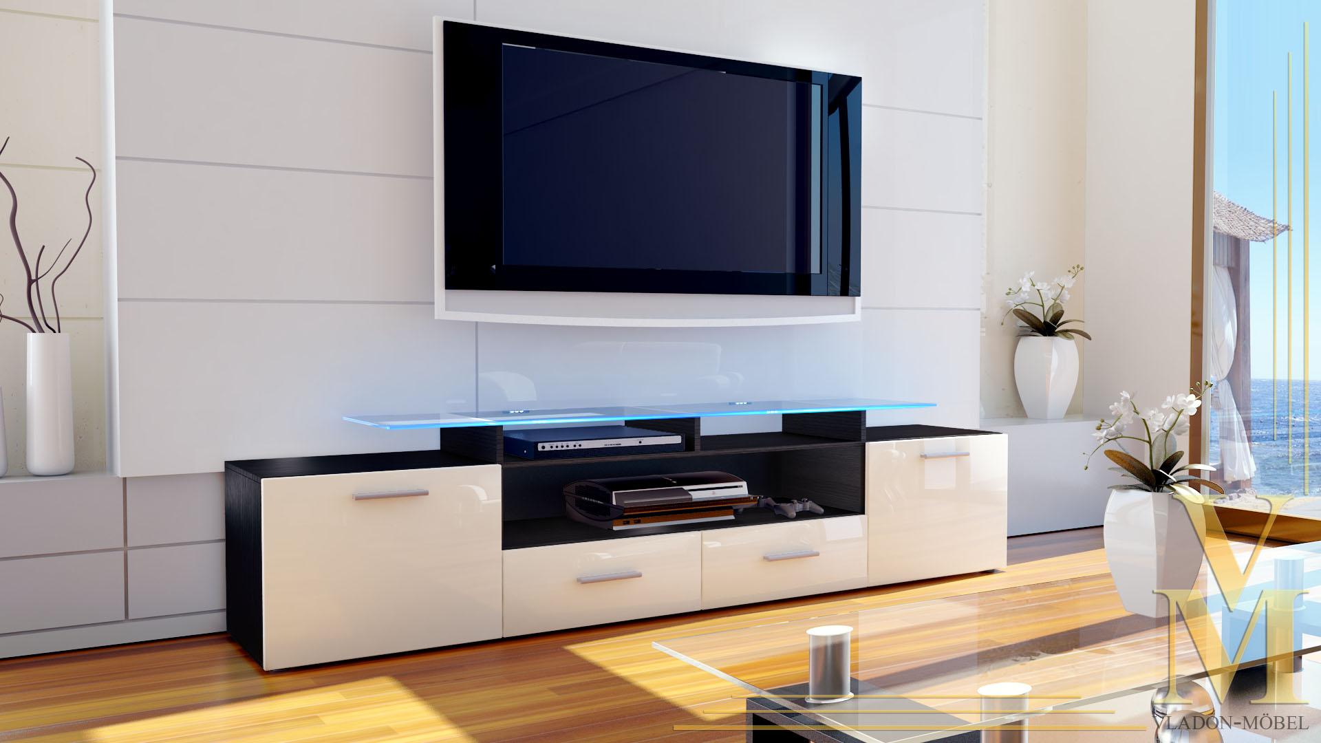 tv board lowboard sideboard rack m bel almada v2 schwarz hochglanz. Black Bedroom Furniture Sets. Home Design Ideas