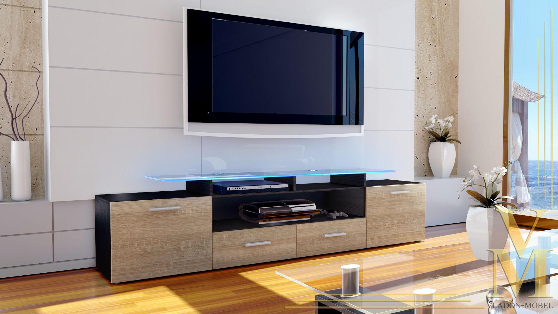 tv unit stand cabinet sideboard almada v2 black high. Black Bedroom Furniture Sets. Home Design Ideas