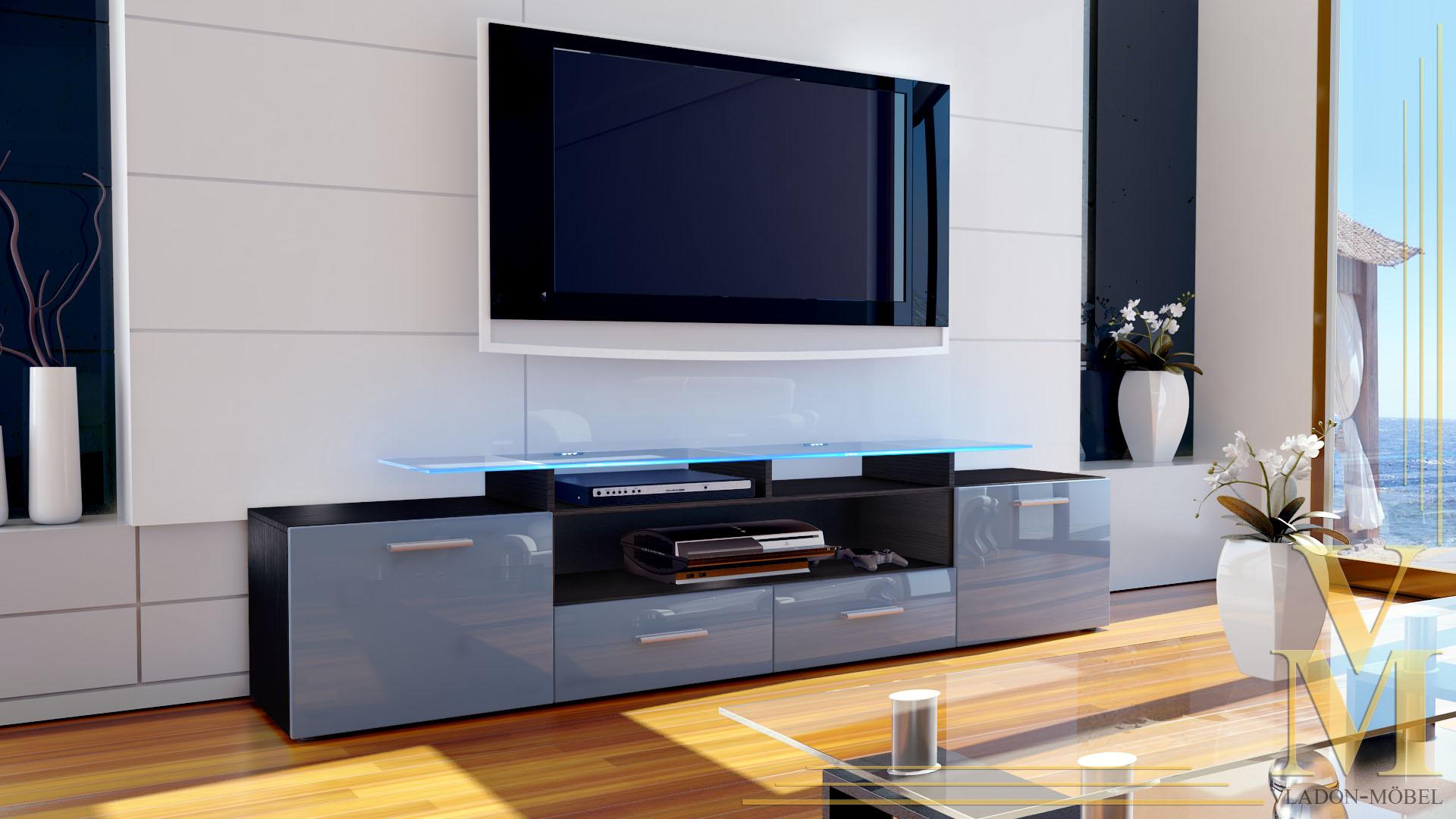 tv board lowboard sideboard rack m bel almada v2 schwarz. Black Bedroom Furniture Sets. Home Design Ideas