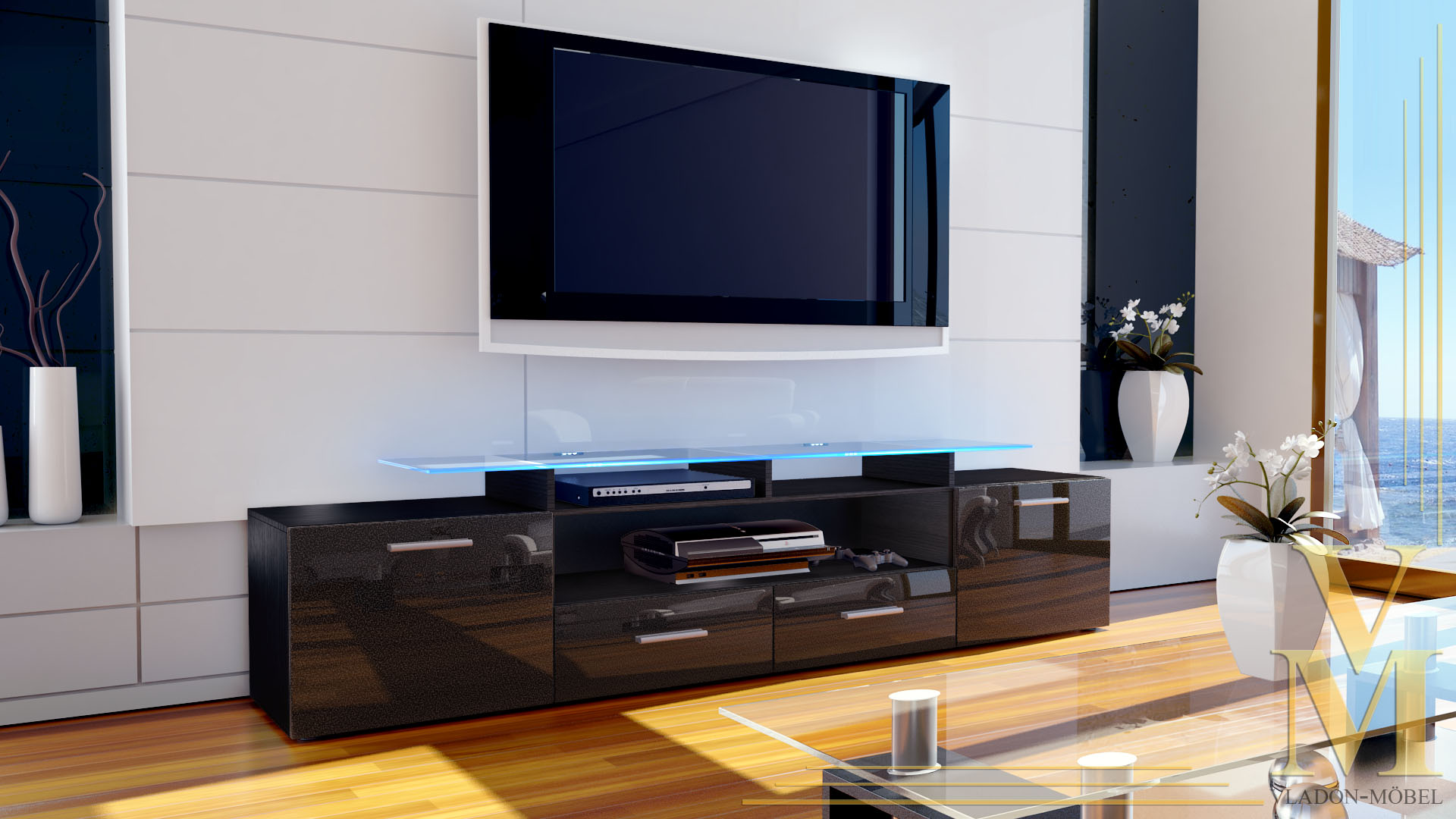 tv board lowboard sideboard rack m bel almada v2 schwarz. Black Bedroom Furniture Sets. Home Design Ideas