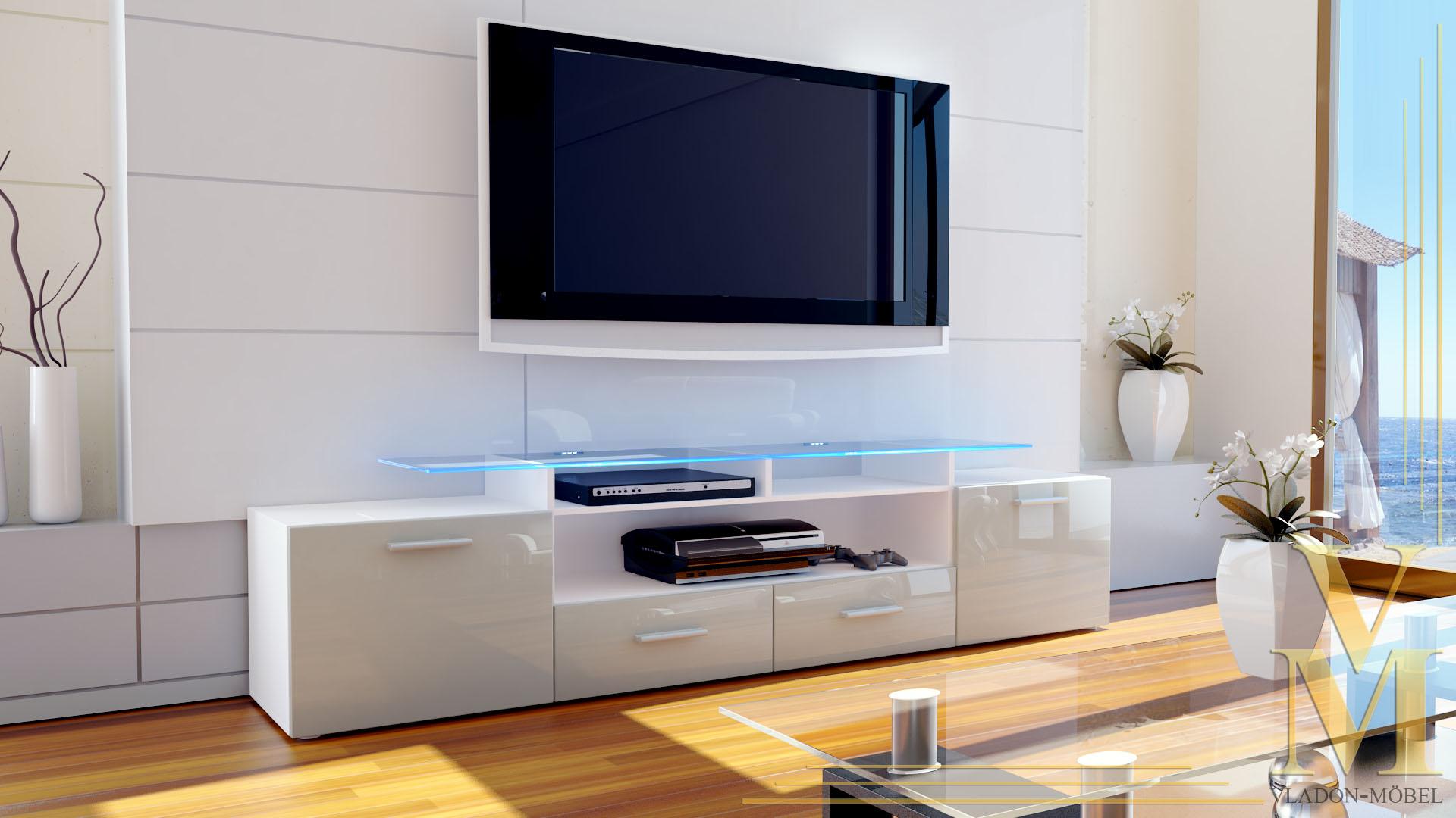 tv board lowboard sideboard rack m bel almada v2 wei hochglanz. Black Bedroom Furniture Sets. Home Design Ideas