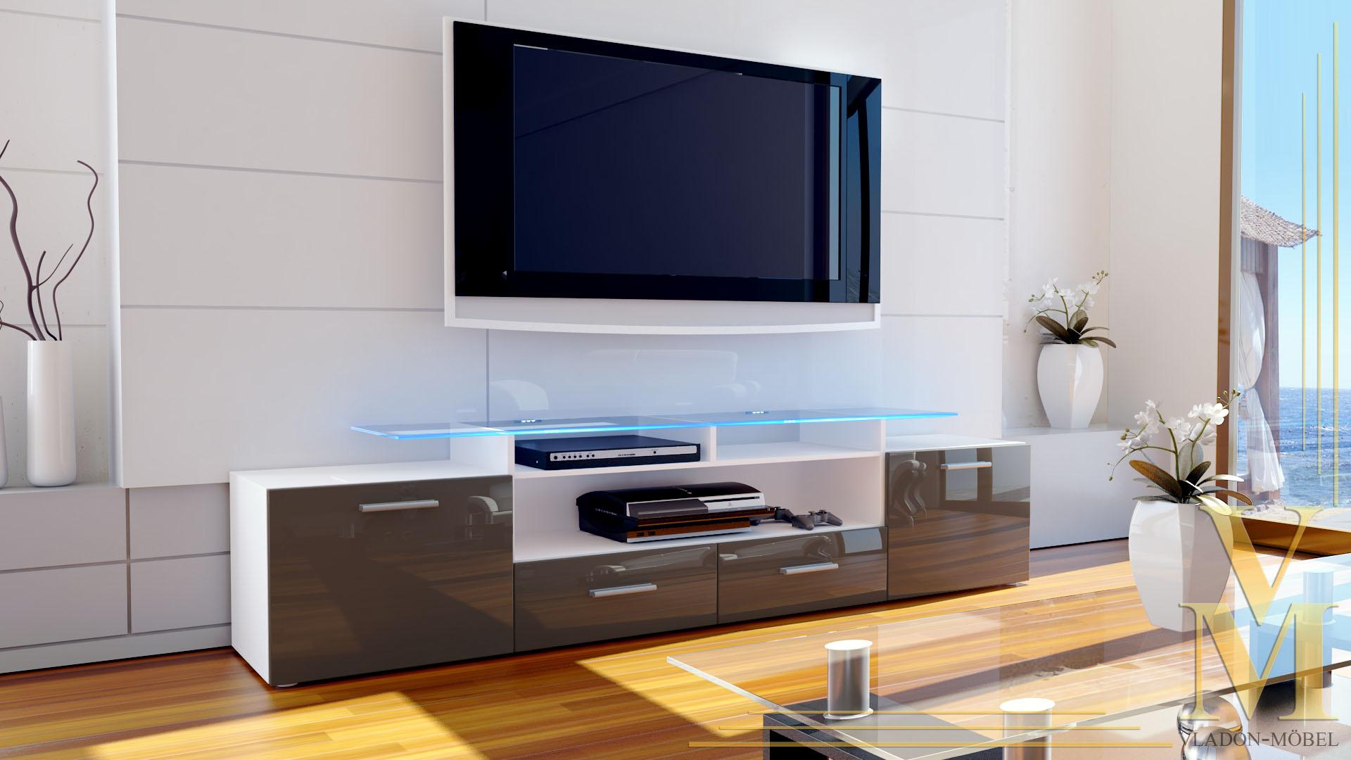 tv board lowboard sideboard rack m bel almada v2 wei hochglanz naturt ne ebay. Black Bedroom Furniture Sets. Home Design Ideas