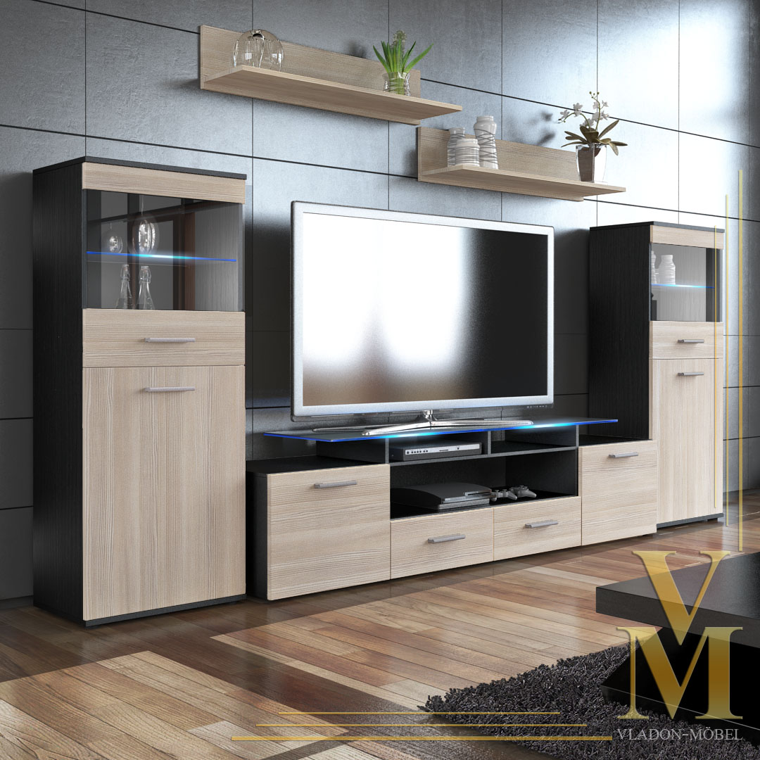 Wall Unit Living Room Furniture Almada V2 In Black Avola Champagne Ebay